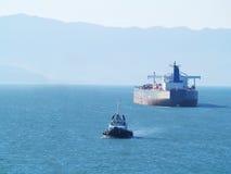 Tanker ship. Vlcc very large crude oil tanker on open sea Stock Image