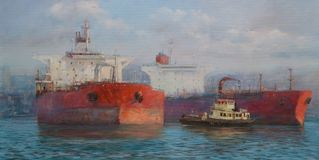 Tanker ships, classic handmade  painting Royalty Free Stock Photography