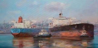 Tanker ships, classic handmade  painting. Tanker ships, classic handmade oil painting on canvas Stock Images