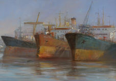 Tanker ships, classic handmade painting. Tanker ships, classic handmade oil painting on canvas Stock Photography