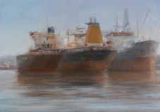 Tanker ships, classic handmade painting Royalty Free Stock Photos