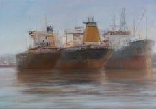 Tanker ships, classic handmade painting. Tanker ships, classic handmade oil painting on canvas Royalty Free Stock Photos