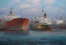 Tanker ships, classic handmade painting Stock Photos
