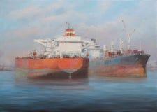 Tanker ships, classic handmade painting. Tanker ships, classic handmade oil painting on canvas Stock Photos