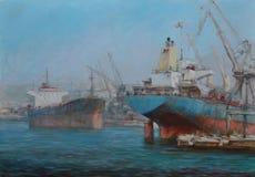 Tanker ships, classic handmade painting. Tanker ships, classic handmade oil painting on canvas Royalty Free Stock Images