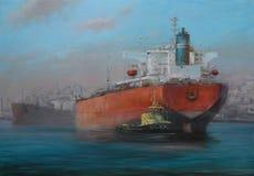 Tanker ships, classic handmade painting. Tanker ships, classic handmade oil painting on canvas Royalty Free Stock Image