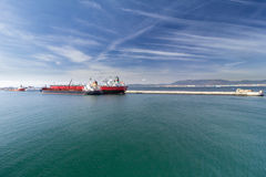 Tanker ships at Gibraltar harbour Royalty Free Stock Photography