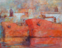 Tanker ships, modern handmade paintings. Tanker ships, modern handmade oil paintings on canvas Stock Photo