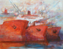 Tanker ships, modern handmade paintings. Tanker ships, modern handmade oil paintings on canvas Royalty Free Stock Image