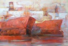Tanker ships, modern handmade paintings. Tanker ships, modern handmade oil paintings on canvas Royalty Free Stock Images