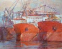 Tanker ships, modern handmade paintings. Tanker ships, modern handmade oil paintings on canvas Stock Photos