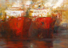 Tanker ships, modern handmade paintings. Tanker ships, modern handmade oil paintings on canvas Royalty Free Stock Photos