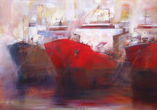 Tanker ships, modern handmade paintings Stock Photo