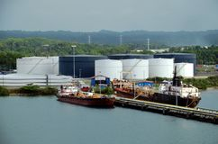 Tanker ships in the refinery in the port of Cristobal, Panama. stock photos