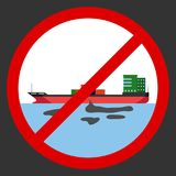 The tanker spilled oil, an icon forbidding polluting the environment. Flat design,  illustration Stock Photo