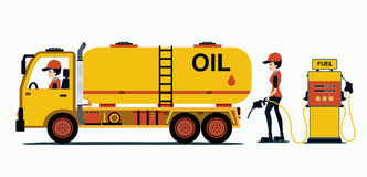 Tanker. With staff and supply of oil Stock Photography
