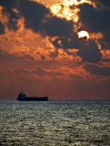 Tanker Sunset Royalty Free Stock Photos