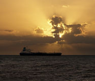 Tanker at sunset Royalty Free Stock Photography