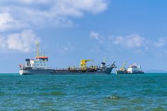 Tanker. Tank Ship transport or store liquids or gases in bulk. 2 Tankers in the sea. Tank Ship transport or store liquids or gases in bulk. Business logistics royalty free stock images
