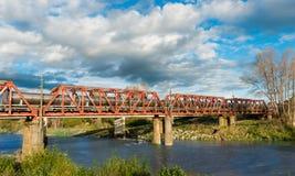 Tanker Train Bridge stock images