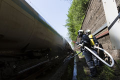 Tanker train fire extinguishing Royalty Free Stock Image