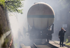 Tanker train insmoke firefighters Stock Photos