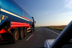 Tanker Truck. Big fuel gas tanker truck on highway stock photo