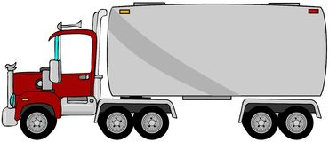 Tanker truck. This illustration depicts a semi truck pulling a tanker trailer Stock Image