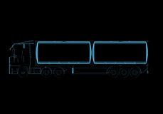 Tanker truck. (3D x-ray blue transparent isolated on black Stock Images