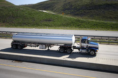 Tanker Truck. On highway Stock Photo