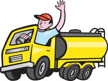 Tanker Truck Driver Waving Cartoon Stock Photo