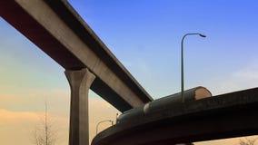 Tanker Truck Drives Overhead On Morning Highway. Oil tanker truck passes on road in beautiful morning light stock video