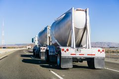 Tanker truck driving on the freeway stock photography