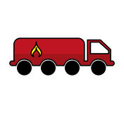 Tanker truck with flame. Vector illustration design Stock Photo
