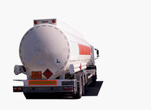 Tanker truck isolated white. Truck tranport petrol isolated white with european danger labels Stock Photography