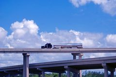 Tanker Truck On Bridge Royalty Free Stock Photography