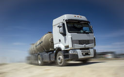 Tanker truck. Tank truck, car, transports fluids on the steppe Royalty Free Stock Photo