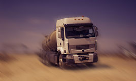 Tanker truck. Tank truck, car, transports fluids on the steppe Stock Image