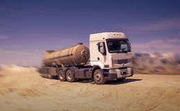 Tanker truck. Transporting process fluids in the steppes of Kazakhstan Stock Photography