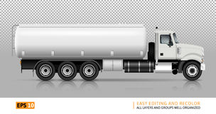 Tanker truck vector illustration. Tanker truck vector template for car branding and advertising. White fuel semi-truck on transparent background. All layers and Stock Images