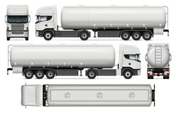 Tanker truck vector template. Tanker truck vector mock-up for car branding and advertising. Elements of corporate identity. Tank truck trailer template on white Royalty Free Stock Image