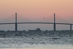 Tanker under the Sunshine Skyway Bridge Royalty Free Stock Photo