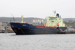 The tanker Varzuga stands at the pier in the port of Murmansk Royalty Free Stock Photos