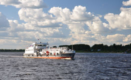 Tanker on the Volga. Oil tanker on the Volga. The inscription Flammable royalty free stock photography