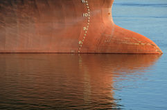 Tanker waterline. A scale indicates water level and consequently how full the tanker is....looks like this is an empty tanker royalty free stock photo