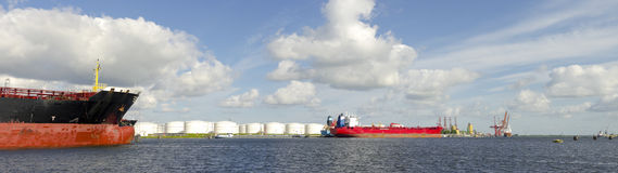 Tankers in amsterdam harbor Royalty Free Stock Photo