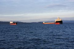 Tankers anchored. Tankers anchored in the Astoria bay in Astoria Royalty Free Stock Photo