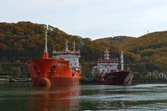 Tankers Crystal East and Carolina Wind stand near the pier. Nakhodka Bay. East (Japan) Sea. 20.10.2012 Stock Photo