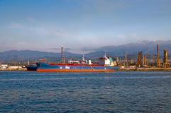 Tankers and a refinery. On the coast of Milazzo, Sicily Royalty Free Stock Photo