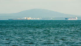 Tankers in the seaport of Burgas in Bulgaria Royalty Free Stock Photo